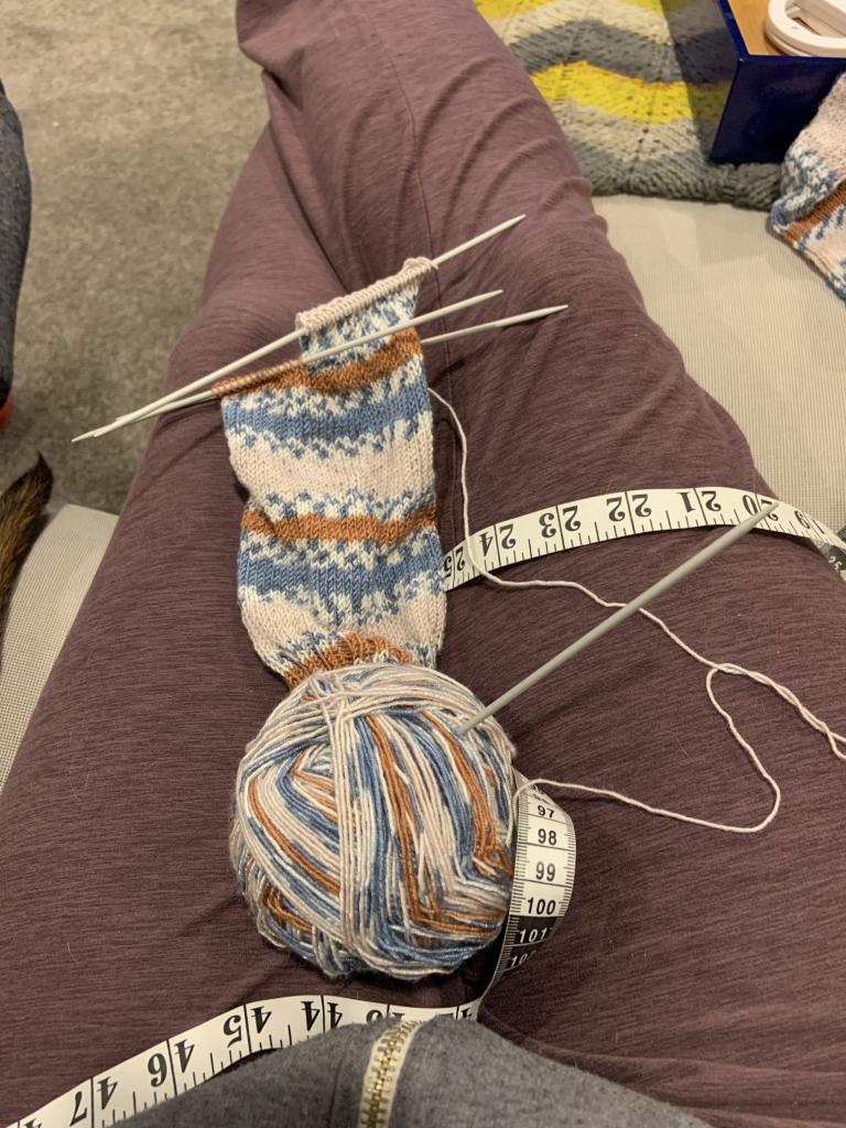 Knitted socks in progress