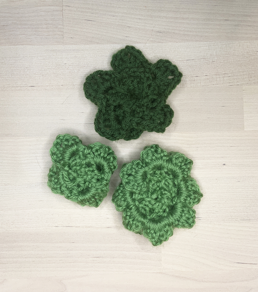 Bottom side of crocheted succulents