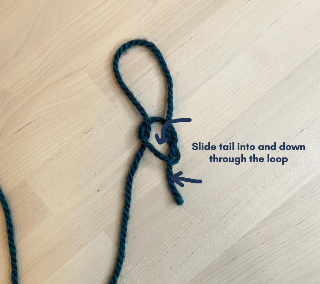final step of slip knot